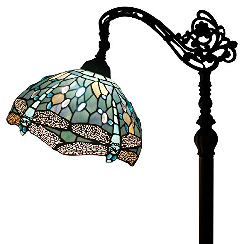 WERFACTORY Tiffany Style Reading Floor Lamp Sea Blue Stained Glass With Crystal Bead Lampshade In 64 Inch Tall For Living Room (Tiffany Style Lamp)