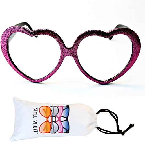 E3079-vp Heart Love clear lens Glasses party sunglasses (B3323F Glitter pink, - Gomez Selena Sunglasses