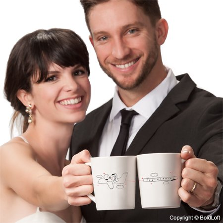 """BOLDLOFT """"Just Married"""" His & Hers Wedding Couple Coffee Mugs-Wedding Gifts for Couple,Wedding Gifts for Bride and Groom,Newlywed Gifts,Engagement Gifts for Couples for Him for Her,Bridal Shower Gifts"""