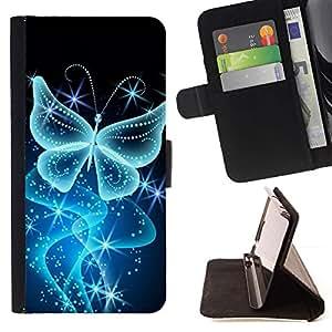 For HTC One M7 Case , Mariposa del brillo de Bling Diamante Brillante- la tarjeta de Crédito Slots PU Funda de cuero Monedero caso cubierta de piel