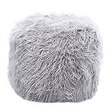 Best Home Fashion Grey Faux Fur Tibetan Lamb Pouf 18''x18''x18''
