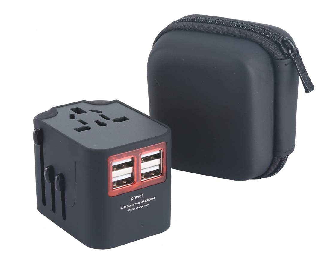 UNGINO Travel Adapter, International Plug Adapter Worldwide Universal Travel Power Adapter with 4 Smart Charging USB Ports, Wall Charger AC power Outlet Adaptor Plug Converter for USA EU UK AUS Asia