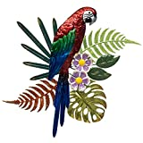 "Parrot Metal Wall Decor - Hand Painted Wall-hanging - 3D Design - Striking Wall Décor – 14 ½"" x 17"" - Indoor or Outdoor Covered Areas – Home Art Decoration"