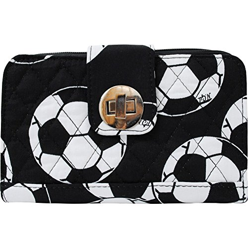 Soccer Ball Print Quilted Twist Lock Wallet (Soccer Print Ball)