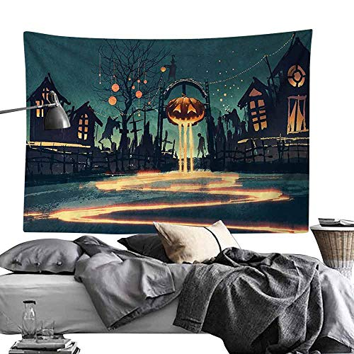 Decorative Tapestry Fantasy Art House Decor Halloween Theme Night Pumpkin and Haunted House Ghost Town Artful Wall Hanging W60 x L40 Teal Orange -