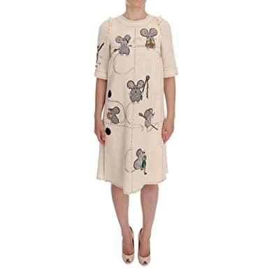 34a10535 Image Unavailable. Image not available for. Color: Dolce & Gabbana Beige  Wool Mouse Crystal Dress