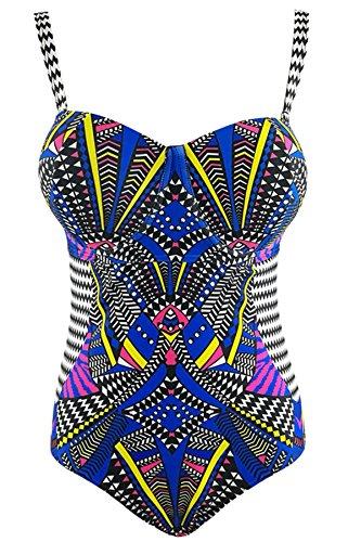 1654e38cc5b90 Women s Plus Size Pro Athletic One Piece Blouson Tankini Sporty Swimsuits  Backless Swimwear Slimming Bathing Suit Navy 2XL (US Size 14-16)