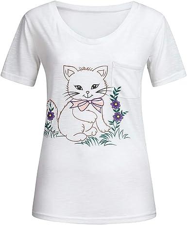 Camisa Oficina Suelto Verano Moda Gato Impresión de Camiseta Blusa Suelto Túnica de Mujer Color Sólido Cuello Redondo Tops de Manga Corta Sudadera Camiseta Basica Mujer: Amazon.es: Ropa y accesorios