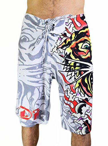 Ed Hardy Men's Burning Tiger Poly Board Shorts Trunks, White, 34 - Ed Hardy Boardshorts
