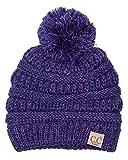 H-6847-800k.79 Girls Winter Hat Warm Knit Slouchy Kids Pom Beanie - Violet #21