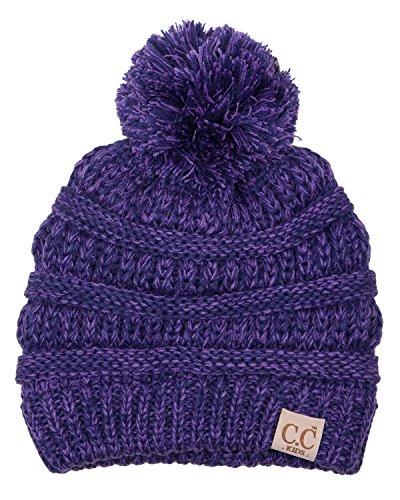 H-6847-800k.79 Girls Winter Hat Warm Knit Slouchy Kids Pom Beanie - Violet -