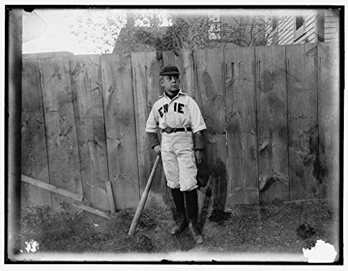 16 x 20 Ready to Hang Canvas Wrap Boy in Baseball Uniform by Fence 1910 Detriot Publishing ()