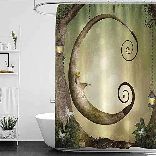 Tim1Beve Shower Curtain with Hooks,Cartoon Forest Secret Swing Old Tree Curly Half Moon Shaped Lamps Butterflies Print,Bathroom Decoration,W108x72L Khaki Pale Brown
