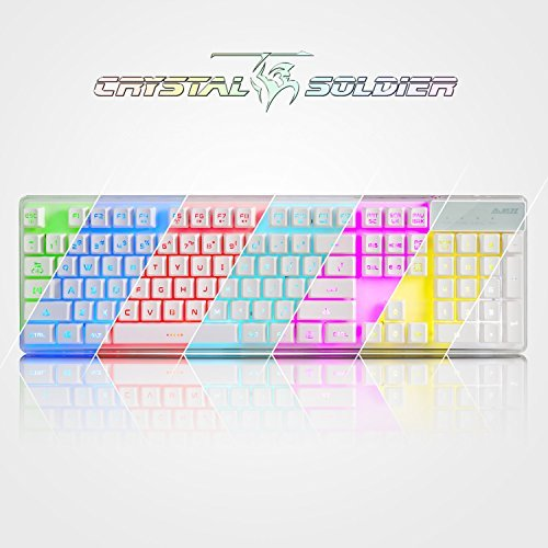 USPRO Gaming Keyboard A-Jazz AK6 Crystal Soldier USB Wired LED Backlit Mechanical Feel Keyboard 3 Colorways Backlight Blue/Green/Teal (104 keys)