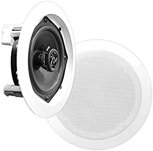"Pyle PDIC56 PAIR of 5.25/"" In-Wall//In-Ceiling 150W 2-Way Flush Mount speakers"