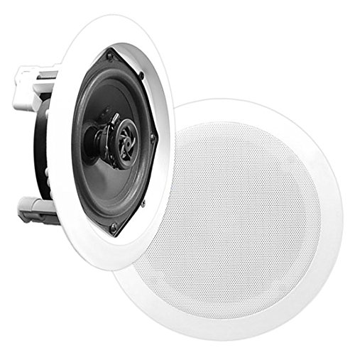 "5.25"" Ceiling Wall Mount Speakers - Pair of 2-Way Midbass Woofer Speaker 1'' Polymer Dome Tweeter Flush Design w/80Hz - 20kHz Frequency Response & 150 Watts Peak Easy Installation - Pyle PDIC51RD by Pyle"