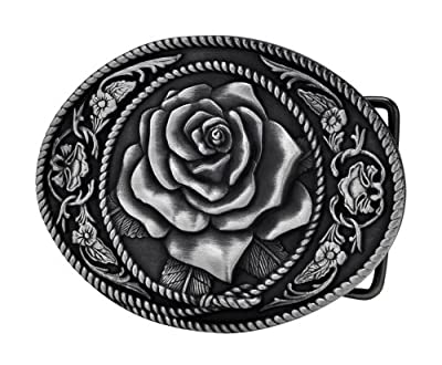 Buckle Rage Vintage Rose Decorative Belt Buck Snap On Antique Western