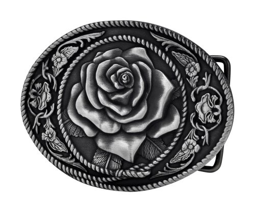 Buckle Rage Adult Womens Western Vintage Rose Ornate Rope Belt Buckle Silver -