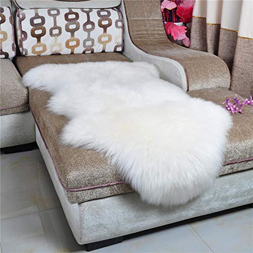 (Dikoaina Classic Soft Faux Sheepskin Chair Cover Couch Stool Seat Shaggy Area Rugs for Bedroom Sofa Floor Fur Rug,White,2' x 3')