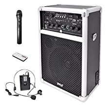 Pyle-Pro PWMA170 Dual Channel 400W Wireless PA System with USB/SD/MP3 2 VHF Wireless Microphones 1 Lavalier 1 Handheld