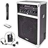 Pyle Pro Outdoor Indoor Wireless Bluetooth Portable PA Stereo Sound System with 6.5 inch Speaker, USB SD Card Reader, Rechargeable Battery,  Indicator Lights, Wireless Microphone, Remote - PWMA170