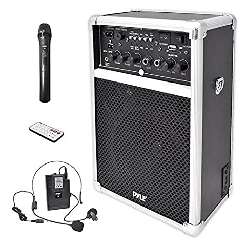 Pyle PWMA170 Dual Channel 400 Watt Wireless PA System with USB/SD/MP3, 2 VHF Wireless Microphones (1 Lavalier, 1 - Pa System Package