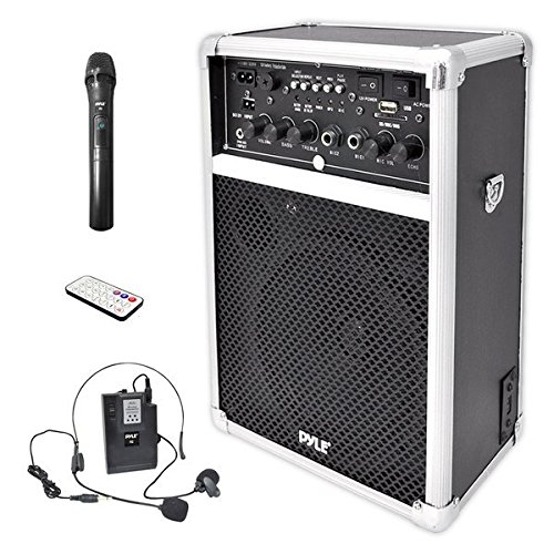 Pyle Pro Outdoor Indoor Portable PA Stereo Sound System with 6.5 inch Speaker, USB SD Card Reader, Rechargeable Battery, Indicator Lights, Wireless Microphone, Remote-PWMA170, Silver/Black ()