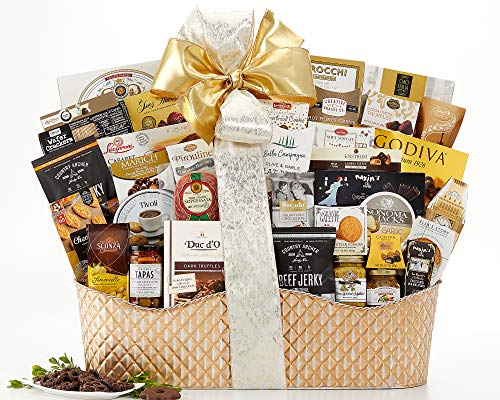 Wine Country Gift Baskets The V.I.P Gift Basket The Ultimate Experience In Gifting Loaded w/ Godiva Lindt Chocolate Country Archer Beef Jerky Salami Stone Ground Mustard English Tea & more