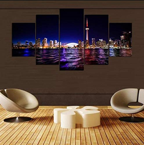 Yyjyxd 5 Pieces Canvas Prints Toronto City Wall Art Home Decor Panels Poster Pictures for Living Room-16x24/32/40inch,with Frame ()