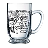 Luminarc Arc International Words in Black Bolero Mug With Coffee (Set of 6), 16 oz, Clear