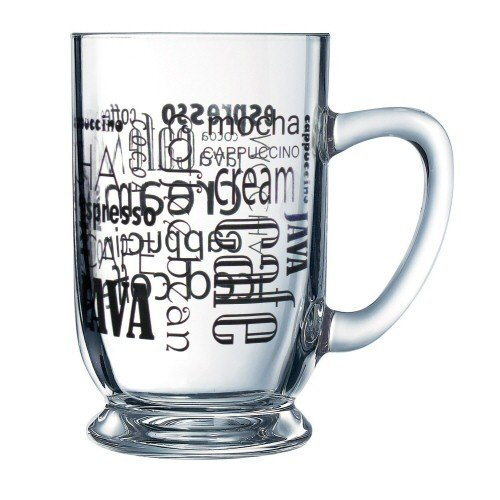 Luminarc Arc International Words in Black Bolero Mug With Coffee (Set of 6), 16 oz, Clear 118002