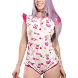 Littleforbig Adult Baby Diaper Lover ABDL Snap Crotch Romper Onesie - Lovesick Pattern Pink and Grey Large