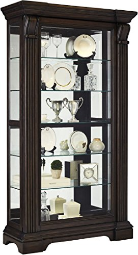 Pulaski P021583 Caldwell Traditional Sliding Front Door Curio Display Cabinet, 47'' x 18'' x 83'', Acacia Brown by Pulaski