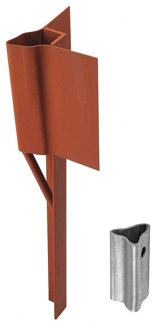 Traffic Post Soil Anchor, Steel, Red