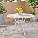 Christopher Knight Home Simon Outdoor Aluminum Round Dining Table, White