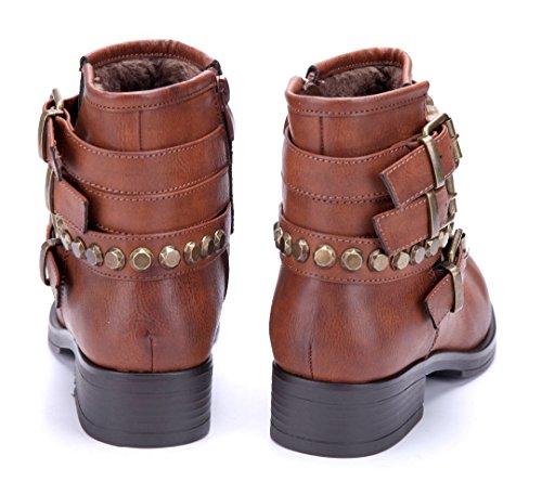 Schuhtempel24 Damen Schuhe Boots Stiefel Stiefeletten Grau Blockabsatz Schnalle/Nieten 4 cm