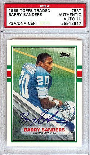 Barry Sanders Signed 1989 Topps Traded Rookie Card #83T Detroit Lions Gem Mint 10 - PSA/DNA Authentication - Autographed NFL Trading Cards