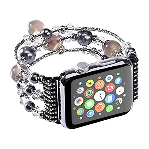 Tomazon Apple Watch Band Handmade Fashion Elastic Stretch Faux Pearl Natural Stone Bracelet Replacement iWatch Strap Women for Apple Watch Series 2 Series 1 All Version (Classy Sports Watch)