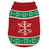 Casual Canine 8-Inch Acrylic Yuletide Snowflake Dog Sweater, XX-Small, Red