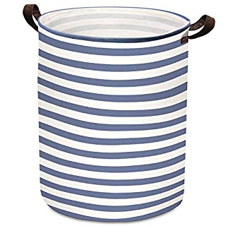 76.16L Large Laundry Basket ULG 21.65 Inch Collapsible Fabric Laundry Hamper Canvas Organizer Basket Nursery Hamper Storage Bin for Laundry Nursery Bathroom Toys (Blue Stripe)