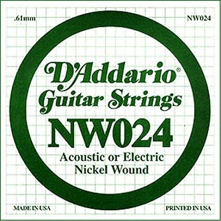 D'Addario NW024 - Cuerda individual con entorchado en níquel para guitarra eléctrica.024