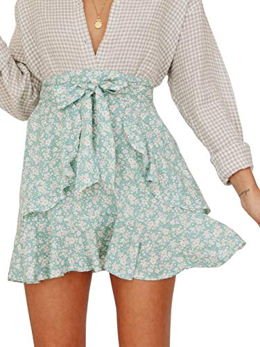 Miessial Women's High Waist A Line Mini Skirt Pleated Ruffle Cute Beach Short Skirt (10, Floral Green)