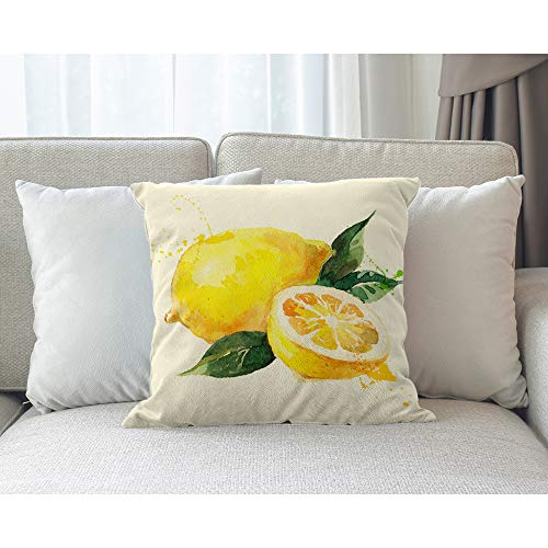 4 Life proverb When Life Hands You Lemons Make Lemonade Cotton Linen Throw pillow cover Cushion Case Holiday Decorative 18X18 inch