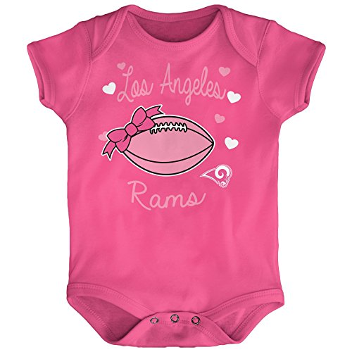 "NFL Newborn""Sunday Best"" Short Sleeve Onesie-Dark Pink-6 Months, Los Angeles Rams"