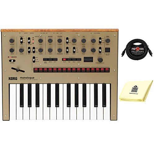 Korg Monologue 25 key Monophonic Analog Synthesizer with 16 step Sequencer with midi cable and Zorro sounds Synthesizer Polishing Cloth in Gold