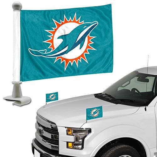 Miami Dolphins Car Flag - ProMark NFL Miami Dolphins Flag Set 2Piece Ambassador Stylemiami Dolphins Flag Set 2Piece Ambassador Style, Team Color, One Size