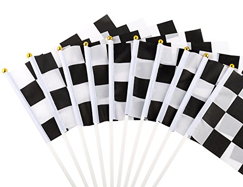 U_star 50 Pieces Checkered Flags 8 x 5.5 Inch Racing Flag Hand Held Stick Flags, Checkered Flag Race Car Flags,Checkered Racing Flag,Checkered Flag Party Supplies,Black & White -