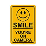 Mysignboards Smile You're On Camera Aluminum Sign Security Waterproof Business Yellow Video Surveillance CCTV - Metal