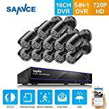 SANNCE 16CH HD 720P Security Camera System and (12) 720P Superior Night Vision CCTV Cameras with P2P Technology, Motion Detection & Alarm Push, Vandal and WeatherProof–NO HDD