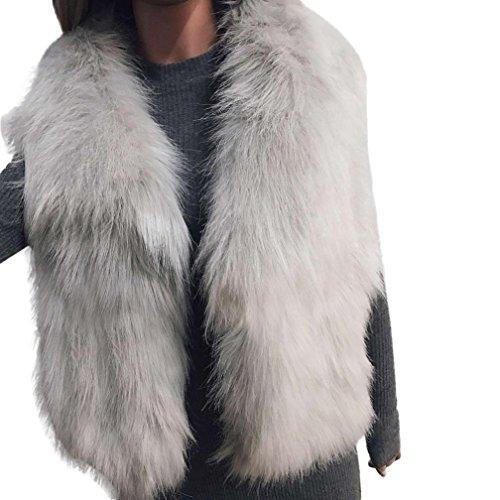 Las Encogimiento Chalecos de Señoras Cinnamou Gris Chaqueta Mujer sintética Piel de de Chaleco Mujeres Punto sin la Chaleco Mujeres de Las Chaleco Las Mangas de Outwear de Abrigo wS8t8vq